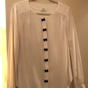 Kate Spade New York bow placket silk blouse